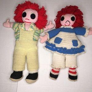 Raggedy Ann /Andy homemade knit crochet Amigurumi